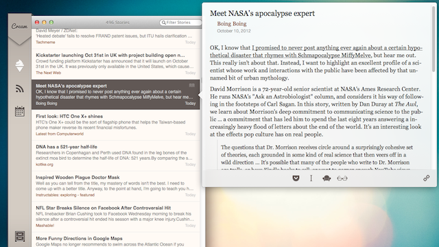 Cream Is a Beautiful News Reader for Mac that Brings the Best Stories to the Top Automatically
