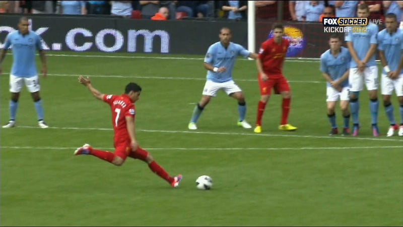 Luis Suárez Seized A Short-Lived Liverpool Lead With This Picture-Perfect Free Kick Goal