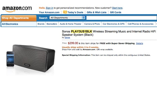 $300 Sonos S3 All-In-One Speaker Leaked On Amazon