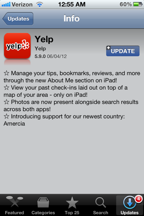 Yelp for iOS Has Added Support for New Country, Amercia