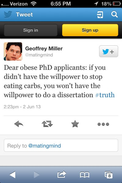 NYU Prof to Obese PhD Applicants: Thanks, But No Fatties Allowed