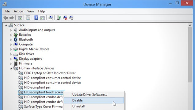 Disable Your Laptop's Touch Screen in Windows 8.1