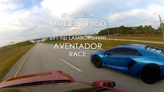 Watch This Race Between The Tesla P85D and an Aventador