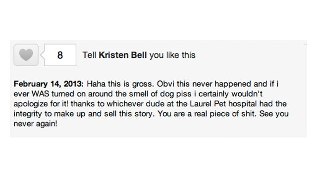 Kristen Bell Is Not Turned On by the Vet's Office, Guys