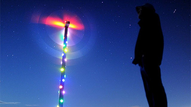 A Trippy Turbine Adorned With Lights