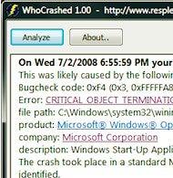 WhoCrashed Helps You Analyze Windows Dump Files
