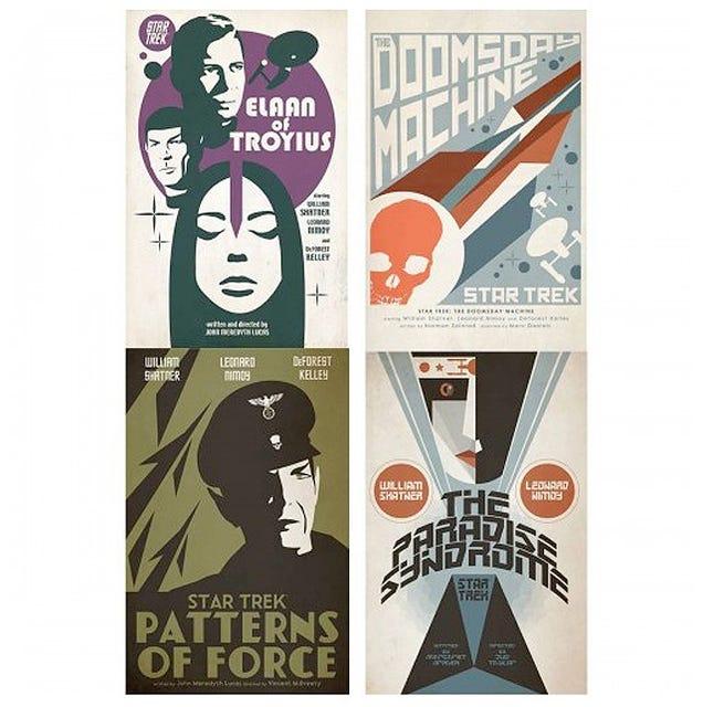 Episodios clásicos de Star Trek, en pósters retro