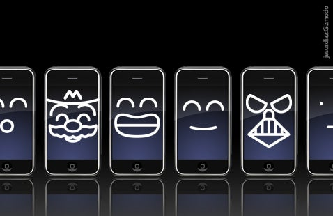 Gizmodo iPhone Wallpapers Show Faces, Darth Vader, Hello Kitty