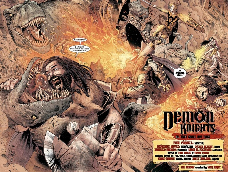In this exclusive preview of Demon Knights, Etrigan and Vandal Savage slay the heck out of dragons
