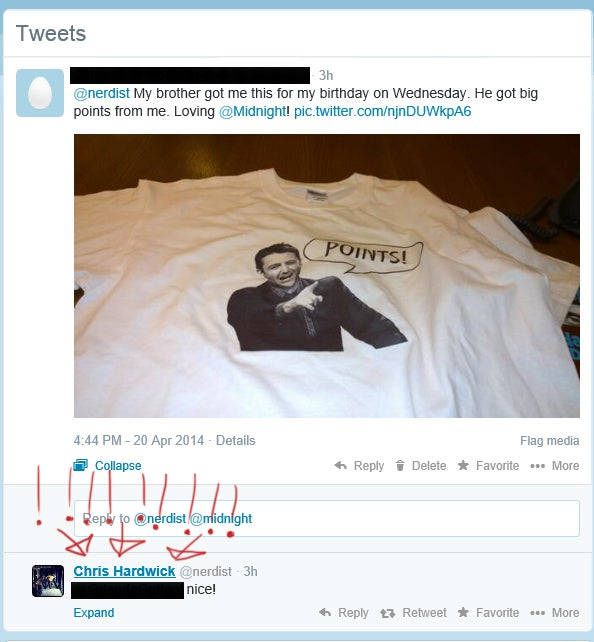 That moment when the subject of your t-shirt acknowledges its existence!