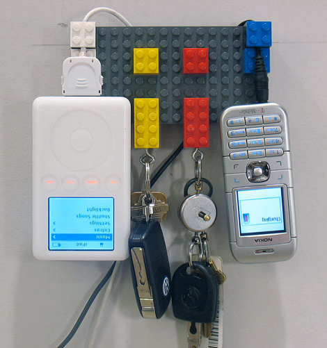 Hanging Lego Recharger Holds Your Keys, Charges Your Gadgets