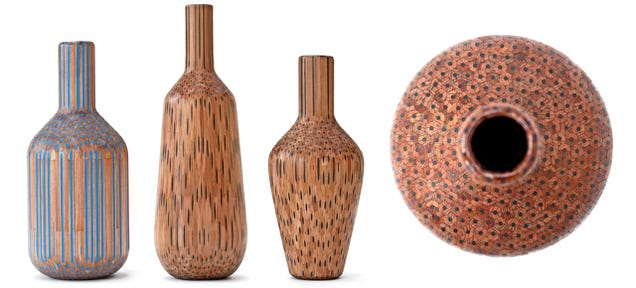 Wooden Vases Show Pencils Have Other Artistic Uses Than Just Drawings