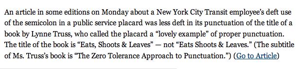 NYT Makes Comma Error Inside Semicolon Article