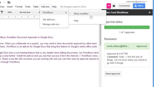Workflows Makes Collaborating on Documents in Google Docs Easier