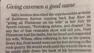 Newspaper Reader Has Strong Opinion On Ray Rice And Fred Flintstone