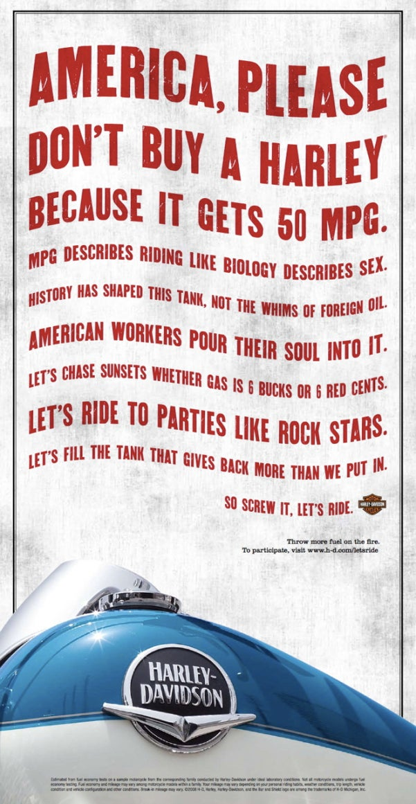 Harley-Davidson Says MPG Doesn't Matter To The True Rider