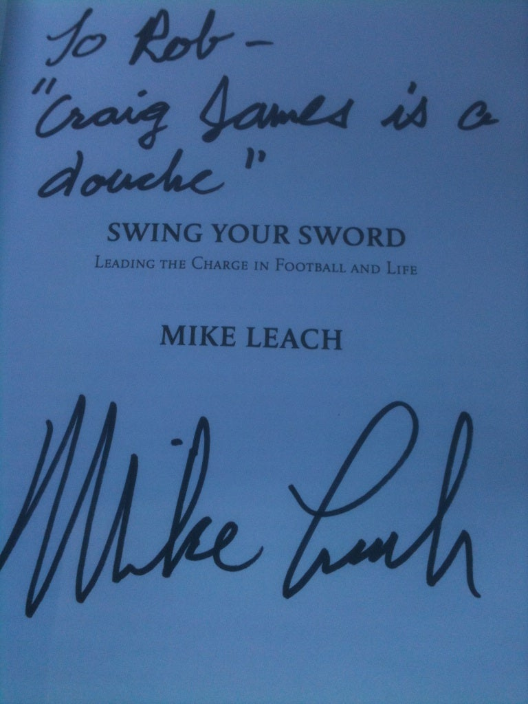 "Yet Another Mike Leach Book Inscription: ""Craig James Is A Douche"""