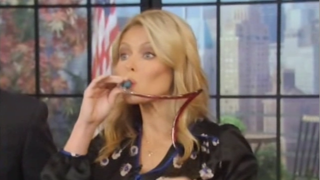 Kelly Ripa Drinks Wine From Own Bra