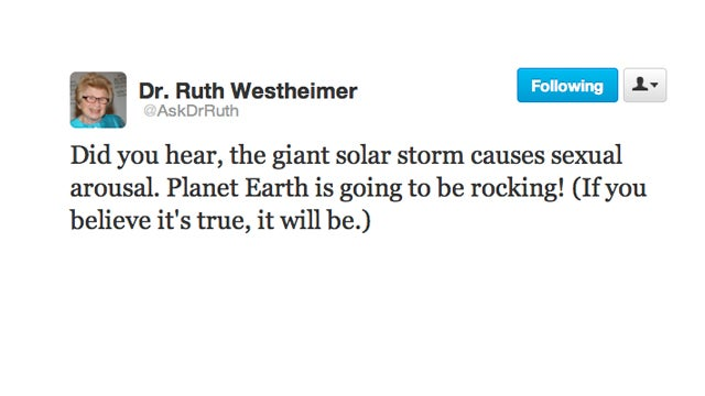 Doctor Ruth Reminds Us That If The Earth Is A'Rockin,' Don't Come A'Knockin'
