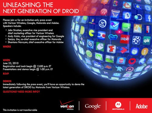 "Verizon and Motorola Unveiling ""The Next Generation of Droid"" June 23"