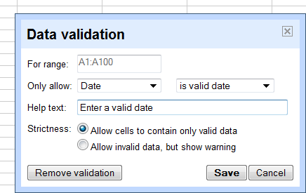 Google Spreadsheets Can Validate Data