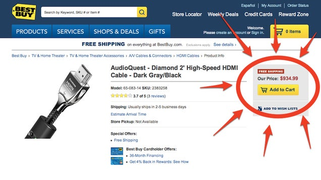 Best Buy Wants You to Spend $1000 on a HDMI Cable