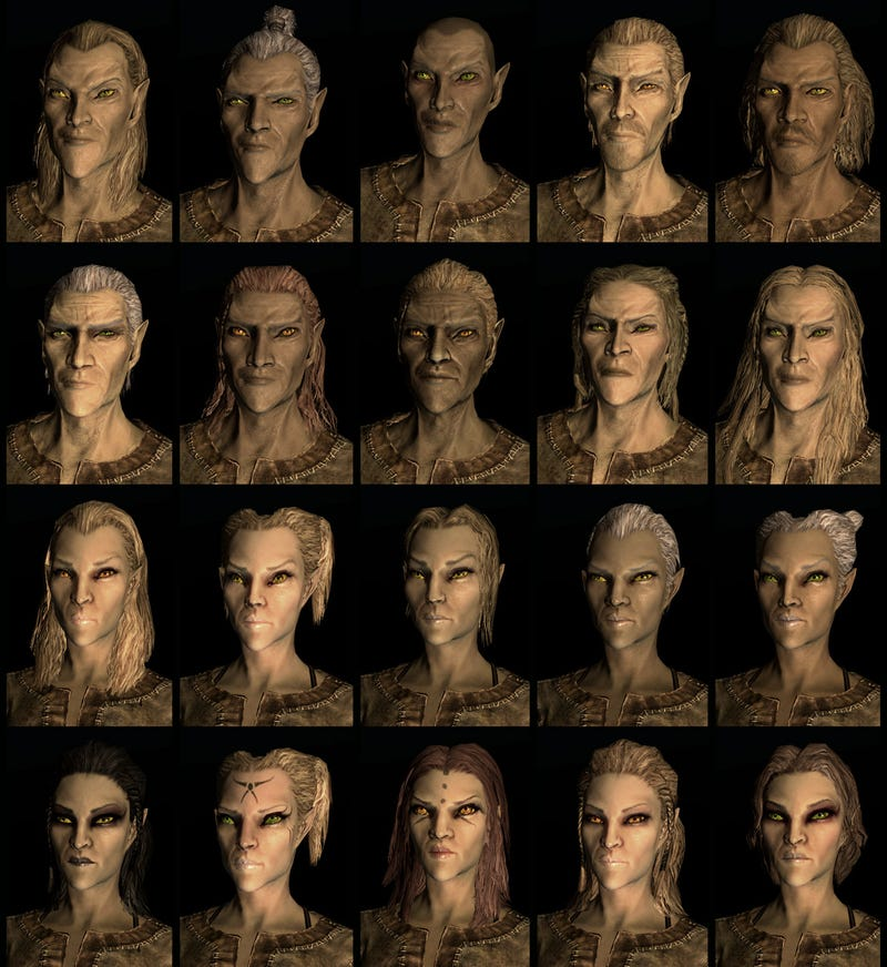 Twenty Different Faces For Each of Skyrim's Races