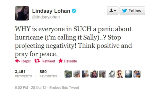 Lindsay Lohan Has a Plan For Defeating Hurricane 'Sally': Think Happy Thoughts
