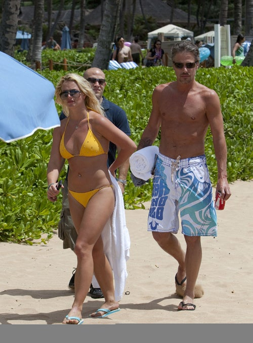 Britney's Bikini Is Mellow Yellow; Her Boyfriend's Trunks Are Moody Blue