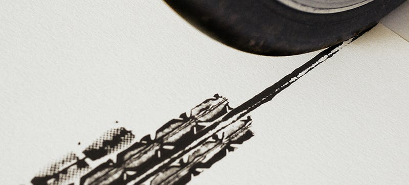 These Architectural Posters Were Printed With Bike Tires And Ink