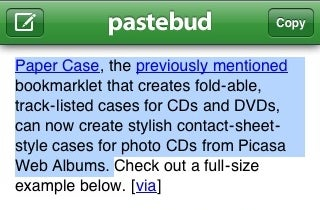 Pastebud Brings Bookmark-Powered Copy and Paste to the iPhone