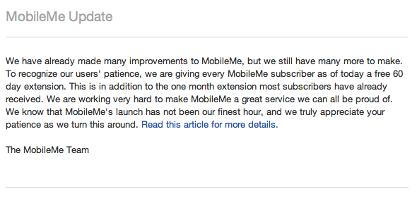 Apple Gives MobileMe Customers 60 More Free Days