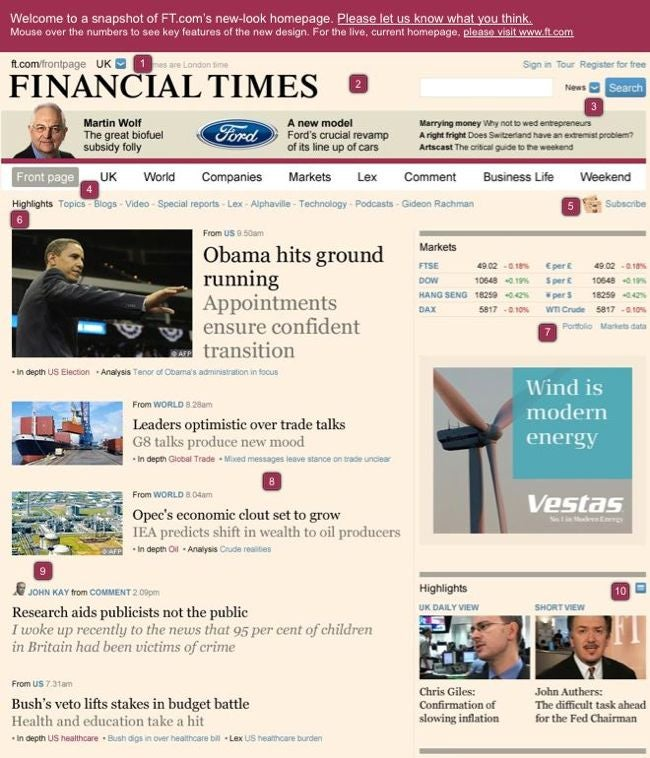 Financial Times in bloggy redesign