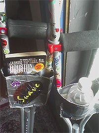 DIY duct tape crutch pockets