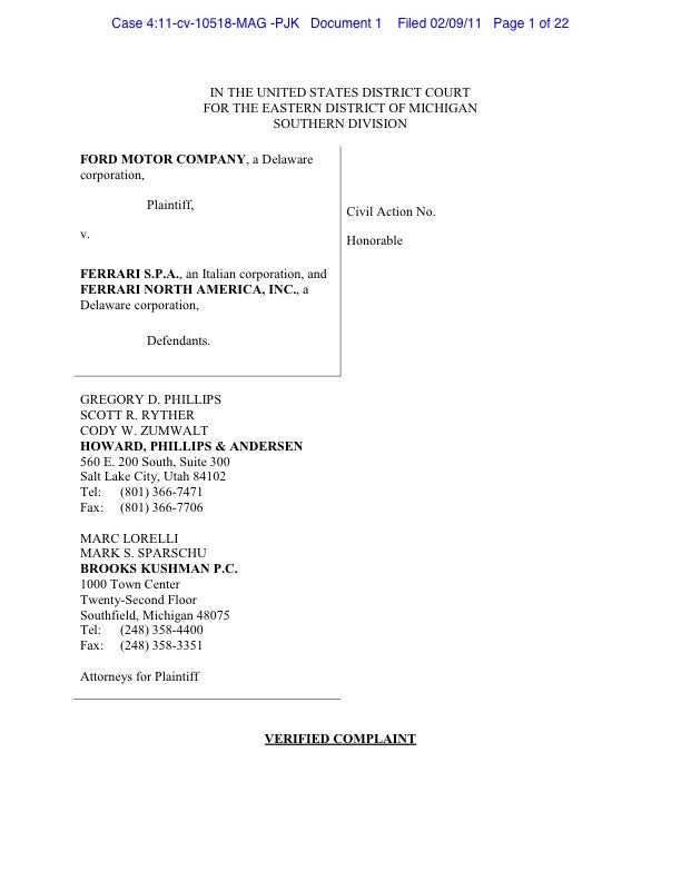 Ford F-150 vs. Ferrari F150 Lawsuit