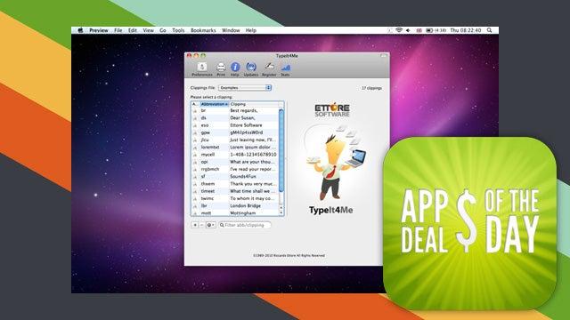 Daily App Deals: TypeIt4Me Text Expander Now 75% Off
