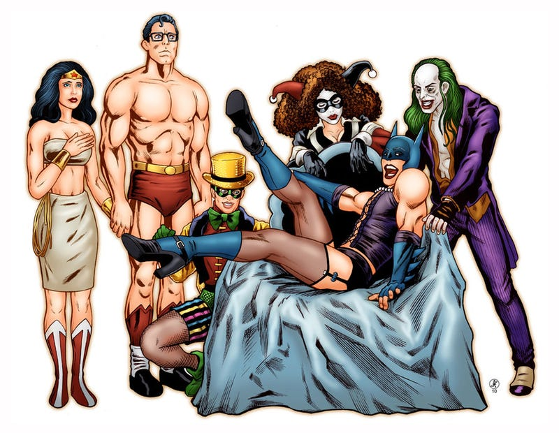 Batman and friends do the Time Warp in thigh-high stockings