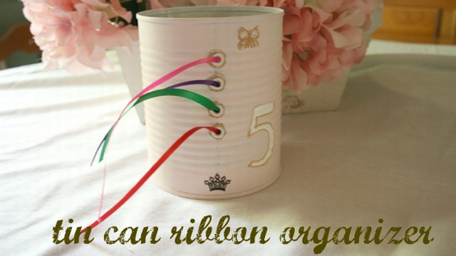 Turn a Used Tin Can Into a Ribbon Organizer