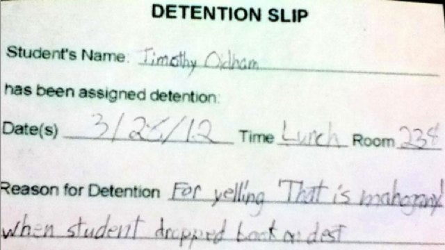 Awesome child given detention for clever Hunger Games joke