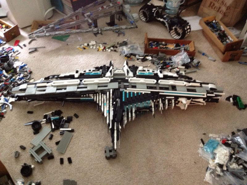 Author builds gigantic LEGO model of spaceship from his new novel
