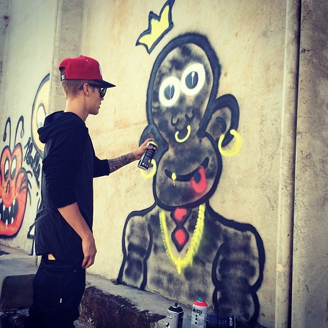 Check Out Justin Bieber's Racist Monkey Graffiti