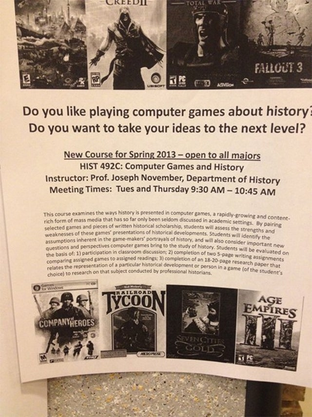 A College History Class About Video Games? Sign Me Up.