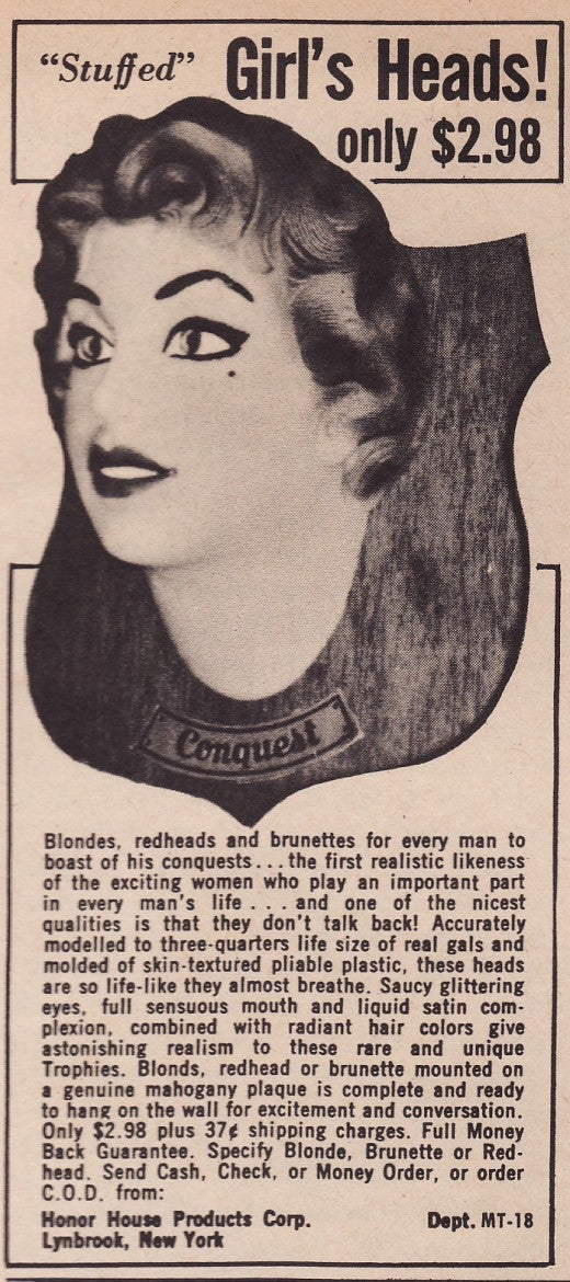 Faux Stuffed Woman's Head: For Vintage Creeps With Questionable Taste