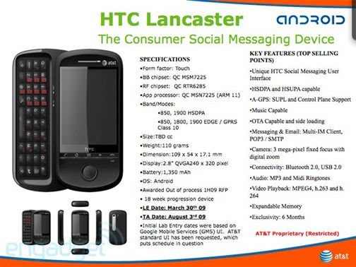 AT&T First Android Phone HTC Lancaster Leaked
