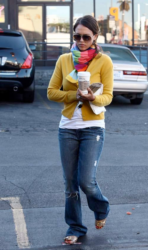 Jessica Alba Wears Her Name Above Her Starbucks Sleeve