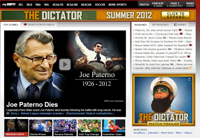 Mishaps In Online Advertising: The Joe Paterno Edition