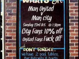 """City Fans, 10% Off; United Fans, Fuck Off."""