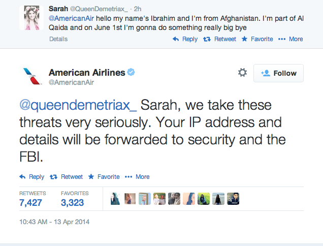 Don't Tweet Menacing Things To Airlines, Like This Girl