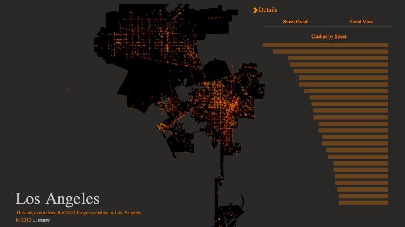Visualizing L.A.'s 2,043 Annual Bike Crashes