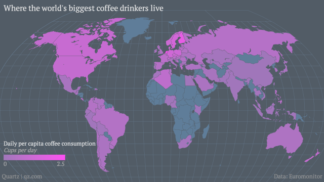 The World's Biggest Coffee Drinkers, Visualized